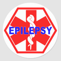 EPILEPSY MEDICAL ID CLASSIC ROUND STICKER