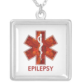 Epilepsy Medical   Necklace: Customizable Square Pendant Necklace
