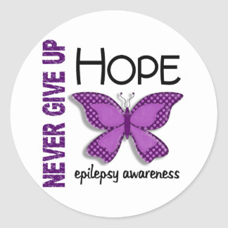 Epilepsy Never Give Up Hope Butterfly 4.1 Classic Round Sticker