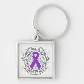 Epilepsy Never Giving Up Hope Silver-Colored Square Keychain