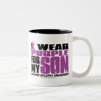 Epilepsy Purple for Son Two-Tone Coffee Mug