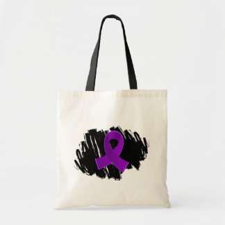 Epilepsy Purple Ribbon With Scribble Budget Tote Bag
