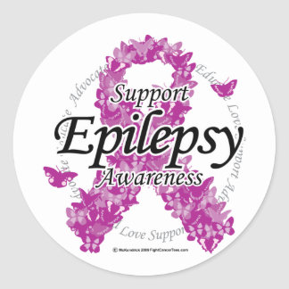Epilepsy Ribbon of Butterflies Classic Round Sticker