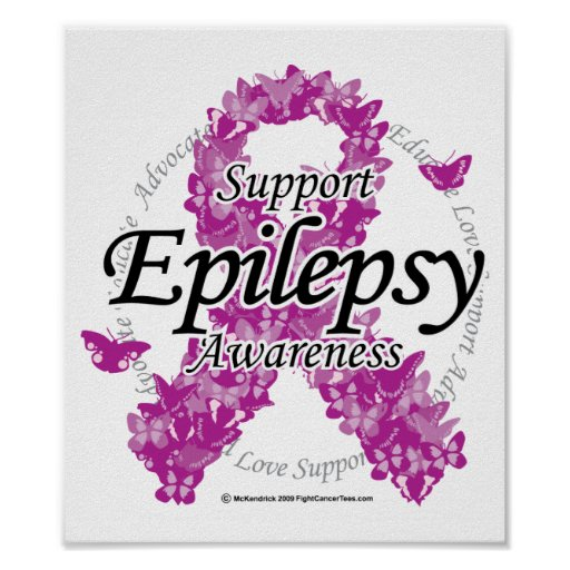 Epilepsy Ribbon of Butterflies Poster