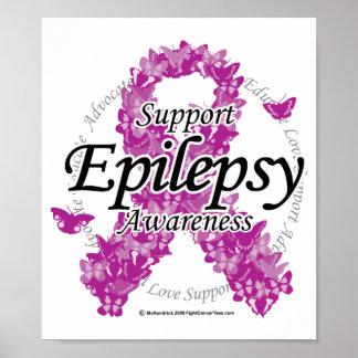 Epilepsy Ribbon of Butterflies Posters