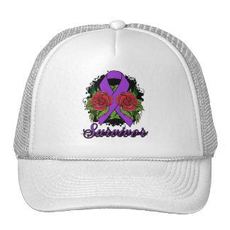 Epilepsy Survivor Rose Grunge Tattoo Mesh Hat