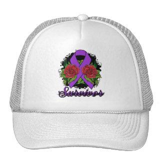 Epilepsy Survivor Rose Grunge Tattoo Trucker Hats