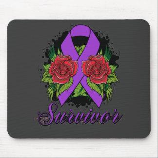 Epilepsy Survivor Rose Grunge Tattoo Mouse Pads