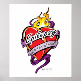 Epilepsy Tattoo Heart Poster