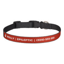 Epileptic Text And White Paw With Custom Info Pet Collar