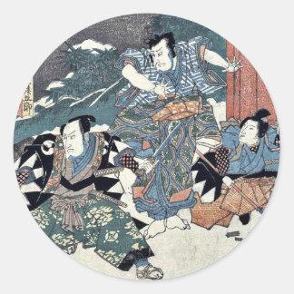 Epílogo del Chushingura por Utagawa, Kuniyasu Pegatina Redonda