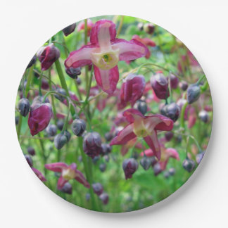 Epimedium Flowers 9 Inch Paper Plate