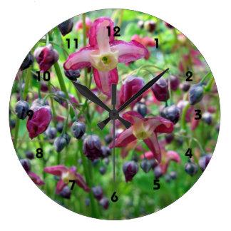 Epimedium Flowers Large Clock