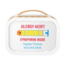 Epinephrine Allergy Alert Personalized Kids Lunch Box
