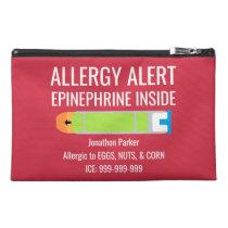 Epinephrine Inside Allergy Alert Custom Kids Travel Accessory Bag