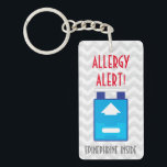 "Epinephrine Inside Allergy Alert Kids Personalized Keychain<br><div class=""desc"">&quot;Epinephrine inside&quot; allergy alert keychain. Personalize with name or other text if you choose. Attach to medical bag,  book bag,  lunch box,  purse etc. Text notes epinephrine device is inside. Make sure to label where your epinephrine is located in case of emergency. Designs by Lil Allergy Advocates www.lilallergyadvocates.com</div>"