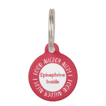 Epinephrine Inside Food Allergy Alert Kids Red Pet Tag