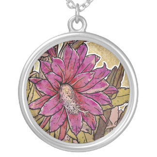 Epiphyllum Flower Silver Plated Pendant / Necklace