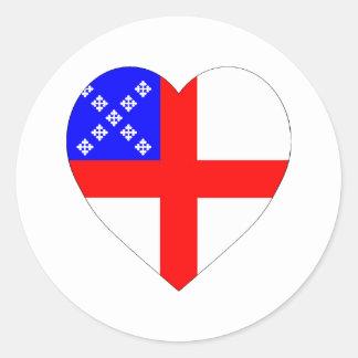 Episcopal Flag Heart Classic Round Sticker