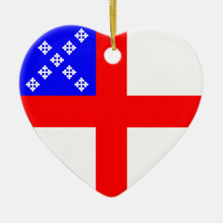 Episcopal Flag Heart Double-Sided Heart Ceramic Christmas Ornament