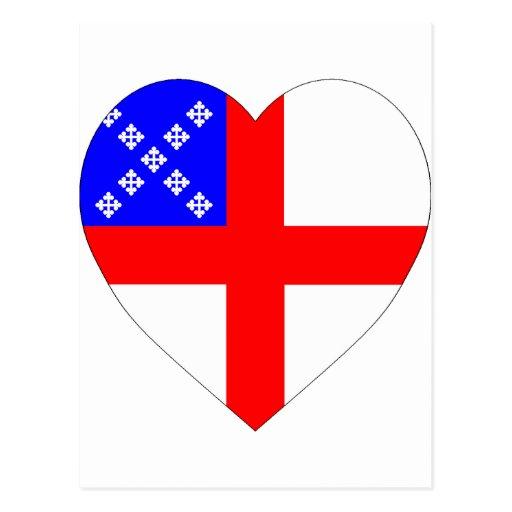Episcopal Flag Heart Postcard