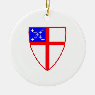Episcopal Shield Double-Sided Ceramic Round Christmas Ornament