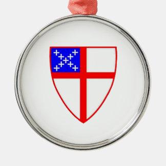 Episcopal Shield Round Metal Christmas Ornament