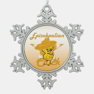 Episcopalian Chick #10 Snowflake Pewter Christmas Ornament