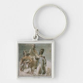 Episode from Napoleon's Retreat Silver-Colored Square Keychain