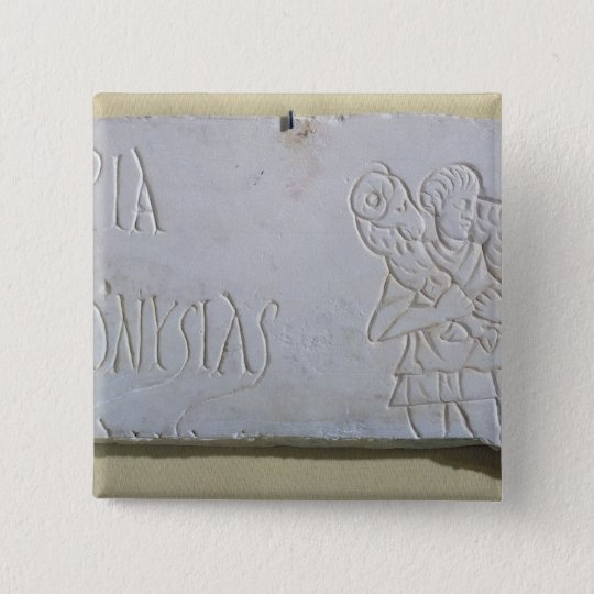Epitaph with a relief of the Good Shepherd Pinback Button