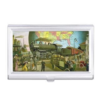 Época dorada del vintage del viaje caja de tarjetas de presentación