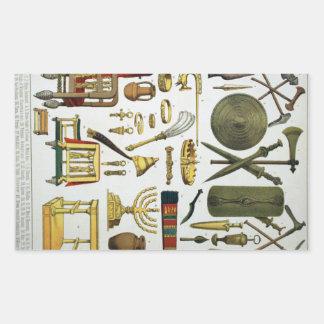 Épocas antiguas pegatina rectangular