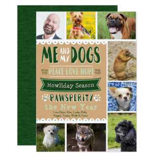 """EPOPEYA yo y mi tarjeta de Navidad de los perros Invitación 5"""" X 7"""""""