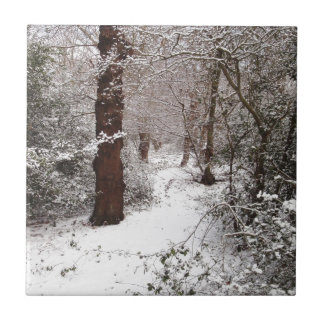 Epping Forest in the snow Ceramic Tiles