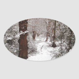 Epping Forest in the snow. Oval Sticker