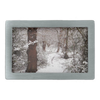 Epping Forest in the snow Rectangular Belt Buckle