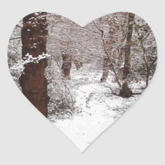 Epping Forest in the snow. Heart Stickers