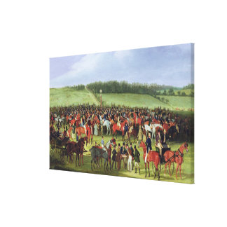 Epsom Races: The Betting Post (oil on canvas) Canvas Print
