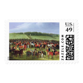 Epsom Races: The Betting Post (oil on canvas) Postage Stamp