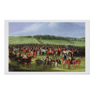 Epsom Races: The Betting Post (oil on canvas) Poster