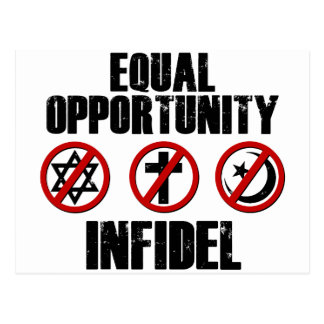 Equal Opportunity Infidel Postcard