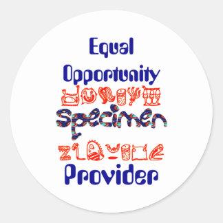 Equal Opportunity Specimen Provider Classic Round Sticker