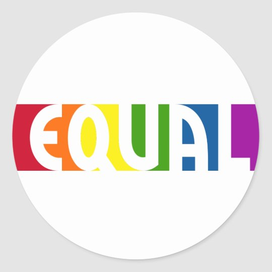 Equal Rainbow Round White Sticker