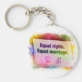 Equal Rights Equal Marriage Basic Round Button Keychain
