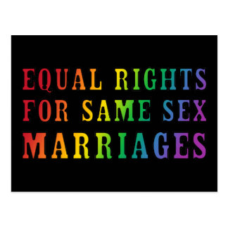 Equal Rights for Same Sex Marriages Postcard