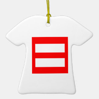 Equal Sign Double-Sided T-Shirt Ceramic Christmas Ornament