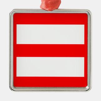 Equal Sign Square Metal Christmas Ornament