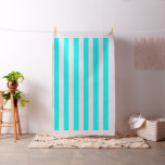 [ Thumbnail: Equal Width Aqua and White Colored Stripes Pattern Fabric ]