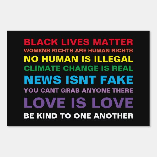 equality  black lives matter pride yard sign