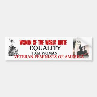 EQUALITY, I AM WOMAN  BUMPER STICKER